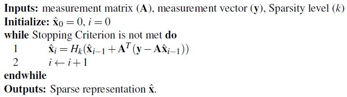 Algorithm 3 Pseudo-code of Iterative Hard Thresholding