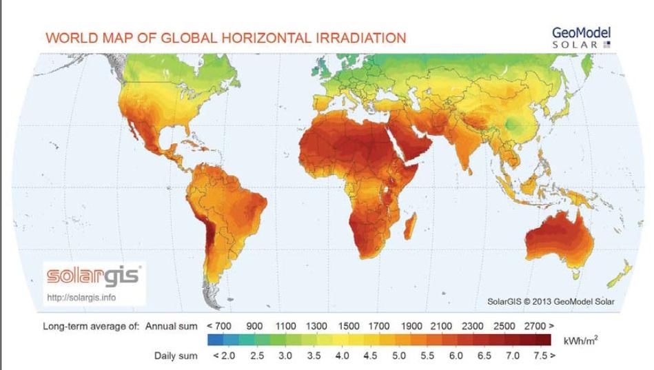 Figure 1 World global horizontal irradiation